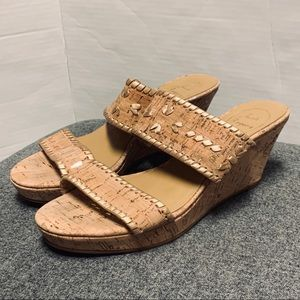 Jack Rogers Cork Gold Wedge Double Band Slide 7.5